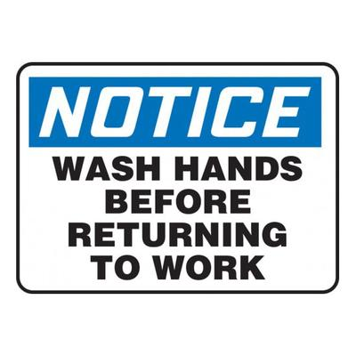 """Accuform Signs MRST822VS Wash Hands Before Returning to Work"""" Sign - Adhesive Vinyl, 14"""" x 20"""