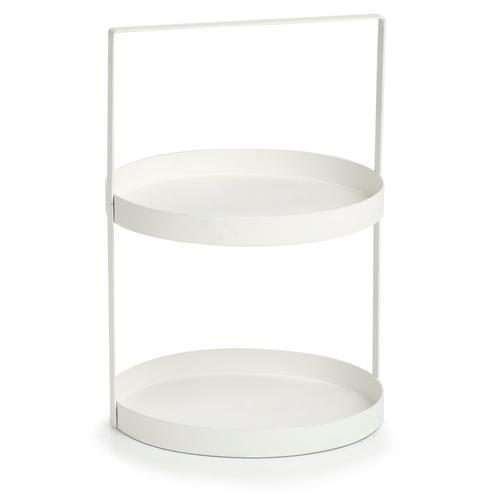 Zeller Present Tablett, (1 tlg.), 2-stufig weiß Tablett Tischaccessoires Geschirr, Porzellan Haushaltswaren