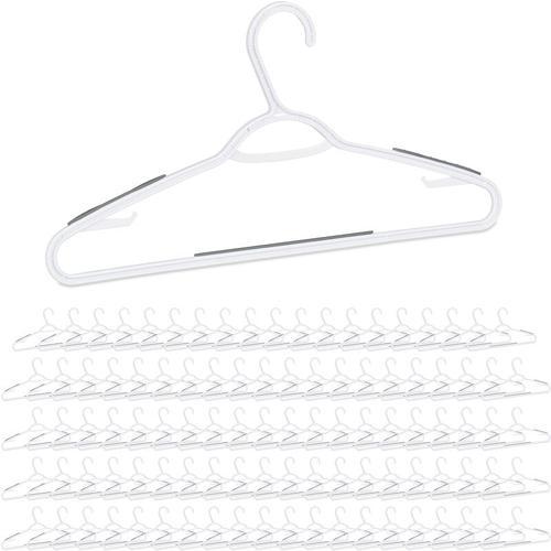 100 x Kleiderbügel im Set, gummierte Kunststoffbügel, Hosenstange, Kleid & Rock, Krawatte,