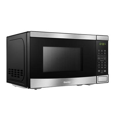 """Danby DBMW0721BBS 17 5/16"""" Countertop Microwave w/ Touch Pad Controls - 700 watts, Black/Stainless"""