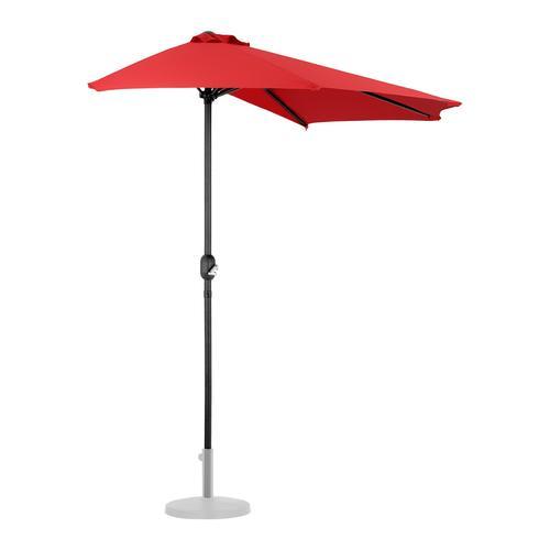 Uniprodo Halber Sonnenschirm - Rot - fünfeckig - 270 x 135 cm