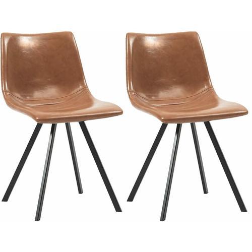 Vidaxl - Esszimmerstühle Kunstleder 2 Stk. Cognacfarben
