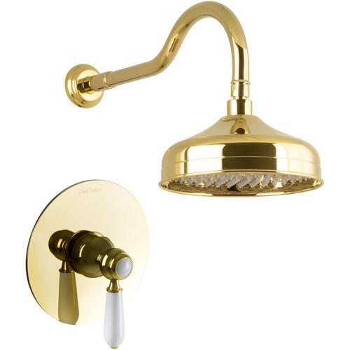 Duschset Unterputz Gold Regendusche Nostalgie Retro Luxus Dusche Set