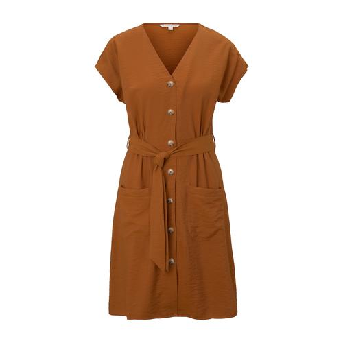 TOM TAILOR DENIM Damen Kleid im Utility-Stil, braun, Gr.S