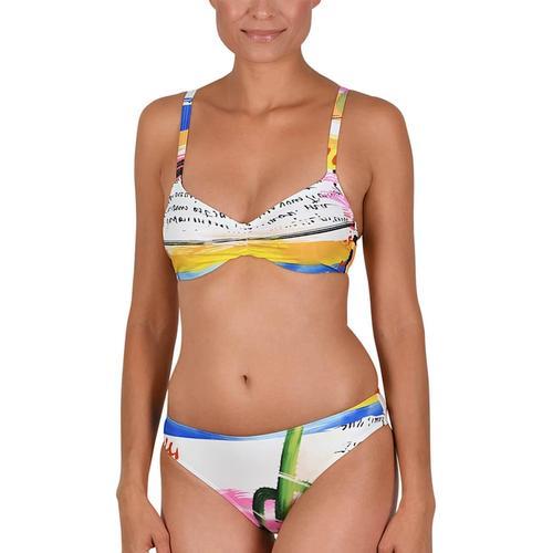 Bikini mit Innenbügel Naturana weiß-bleu-pink