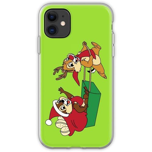 Chip und Dale auf einem Weihnachtsschlitten Flexible Hülle für iPhone 11