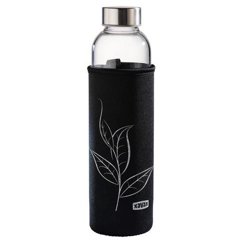 Xavax Glasflasche mit Sieb, Teeflasche, Trinkflasche schwarz Kinder Aufbewahrung Küchenhelfer Haushaltswaren Schulartikel