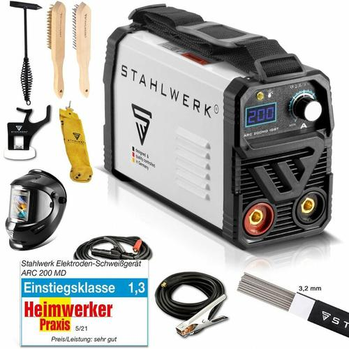 STAHLWERK ARC 200 MD IGBT Vollausstattung - Schweißgerät DC MMA / E-Hand Welder mit echten 200