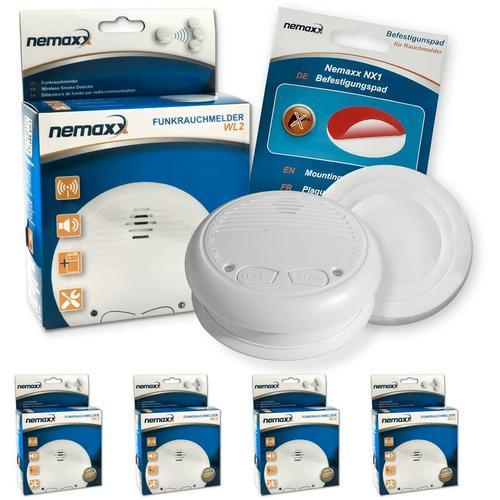4x Nemaxx WL2 Funkrauchmelder Rauchmelder Brandmelder Set Funk koppelbar vernetzt - nach EN 14604 +