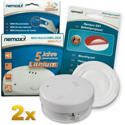 2x Mini-FL2 Rauchmelder - hochwertiger & diskreter Mini Brandmelder Feuermelder Rauchwarnmelder mit