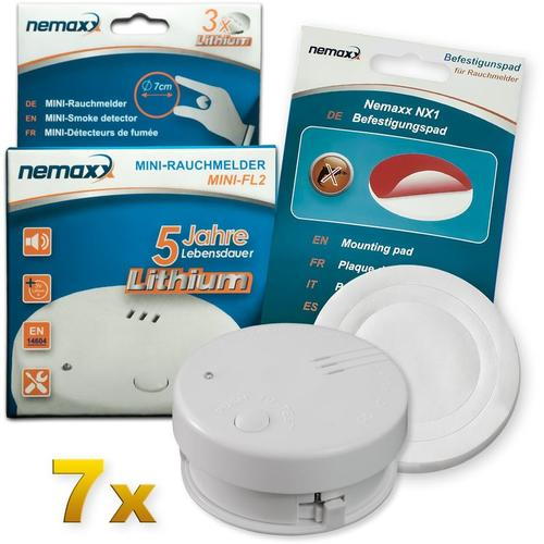 7x Mini-FL2 Rauchmelder - hochwertiger & diskreter Mini Brandmelder Feuermelder Rauchwarnmelder mit