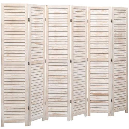 6-tlg. Raumteiler Weiß 210×165 cm Holz