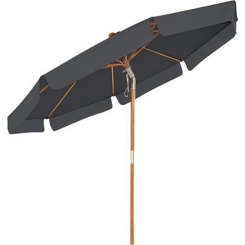 Songmics - Holz-Sonnenschirm, Ø 300 cm, Marktschirm, UV-Schutz UPF 50+, Gartenschirm,