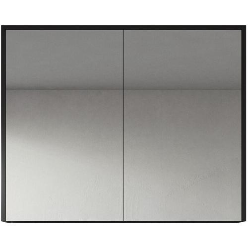 Badplaats - Spiegelschrank Cuba 90cm Schwarzes Holz - Schrank Spiegelschrank Spiegel Badezimmer