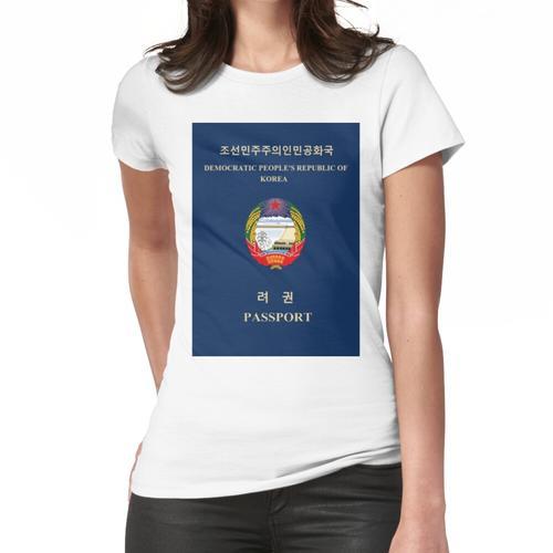 DVRK Nordkorea Nordkoreanischer Pass Juche Kommunist Frauen T-Shirt