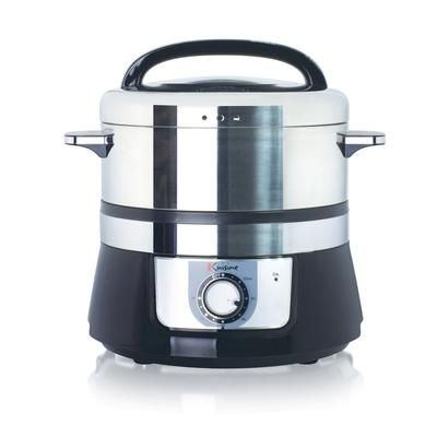 Euro Cuisine Stainless Steel Electric Food Steamer by Euro Cuisine in Black And Stainless
