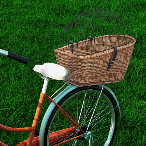 vidaXL Fahrrad-Gepäckträgerkorb mit Abdeckung 55×31×36 cm Naturweide