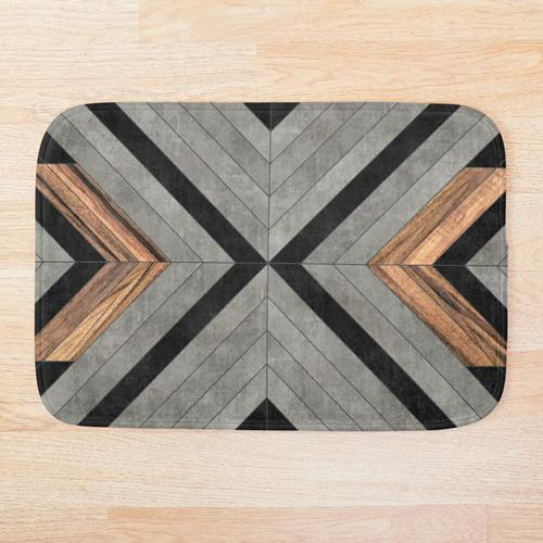 Urban Tribal Pattern No.2 - Beton und Holz Badematte