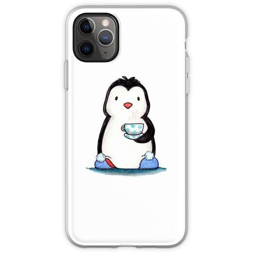 Pinguin, Tasse Tee und Hausschuhe Flexible Hülle für iPhone 11 Pro Max