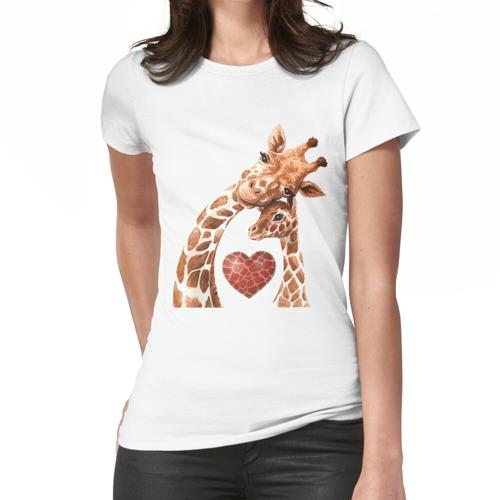 Giraffen-Mutter-Herz-Baby-Giraffen-Liebhaber Frauen T-Shirt