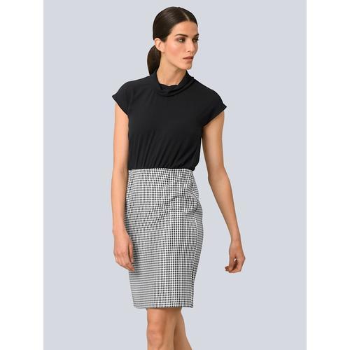 Alba Moda, Kleid in zwei geteilter Optik, schwarz