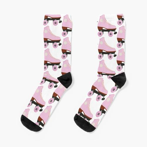 Rosa Weinlese-Rollschuh Socken