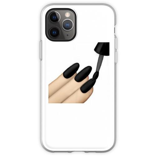 Schwarzer Nagellack Emoji Flexible Hülle für iPhone 11 Pro