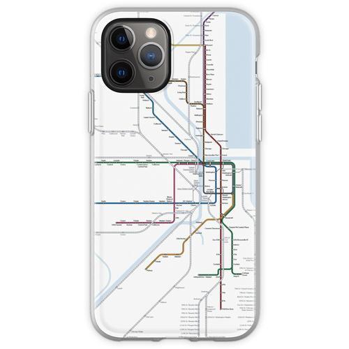 Chicago Eisenbahnkarte Flexible Hülle für iPhone 11 Pro
