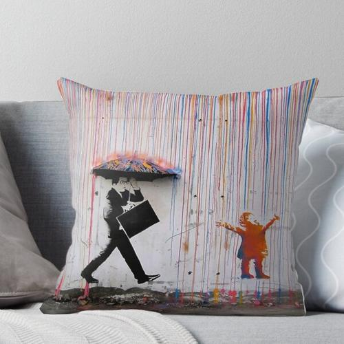 Regenbogenschirm Banksy Kissen