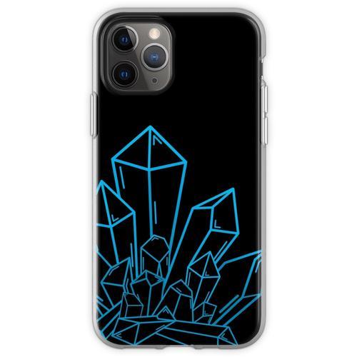 Blauer Kristallblock Auf Schwarzem Flexible Hülle für iPhone 11 Pro