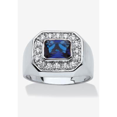 Men's Big & Tall Silver Tone Blue Glass and Cubic Zirconia Ring by PalmBeach Jewelry in Silver (Size 12)