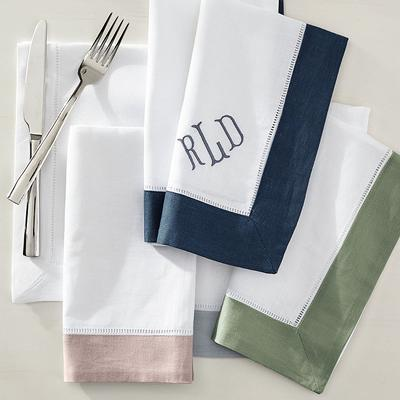 Classic Hemstitch Border Dinner Napkins, Set of Six - Grey Rose - Frontgate