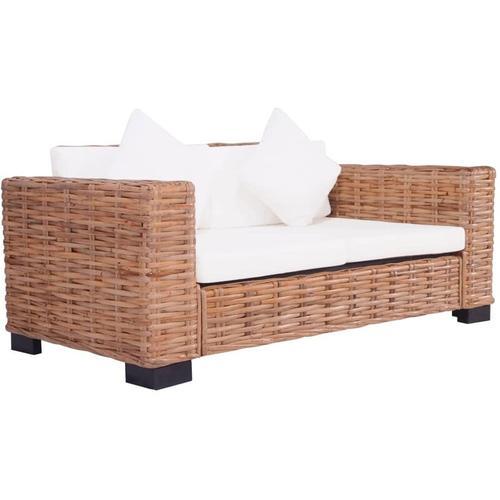 2-Sitzer Gartensofa Natürliches Rattan