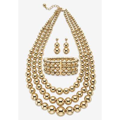 "Plus Size Women's Gold Tone Graduated Bib 17"" Necklace Set by PalmBeach Jewelry in Gold"