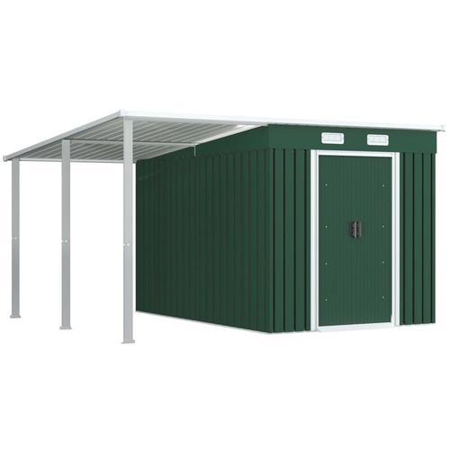 Gerätehaus mit Vordach Grün 336×270×181 cm Stahl