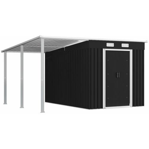 Gerätehaus mit Vordach Anthrazit 336×270×181 cm Stahl