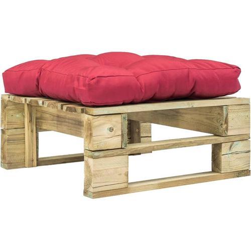 Garten-Palettenhocker Holz mit Rotem Kissen Grün