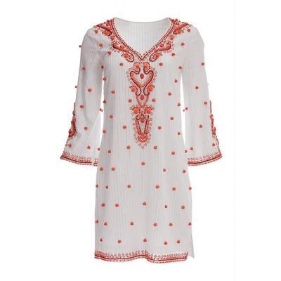 Boston Proper - Baubles Tunic Dress - White/coral - Xx Small