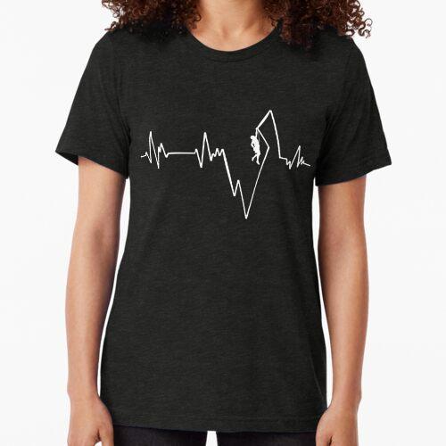 Climber Climbing Climber ECG T-shirt Heartbeat Tri-blend T-Shirt