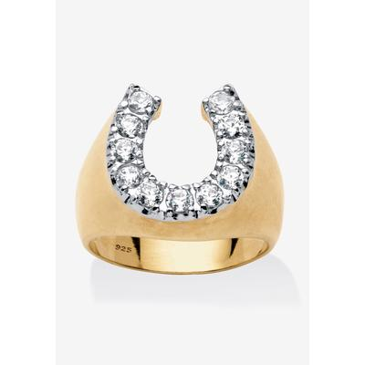 Men's Big & Tall 18K Gold over Sterling Silver Cubic Zirconia Horseshoe Ring by PalmBeach Jewelry in Gold (Size 12)