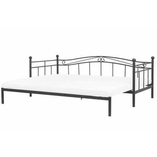 Metallbett Schwarz 90 x 200 cm Ausziehbar Mit Lattenrost Metall Verzierungen Ausziehfunktion