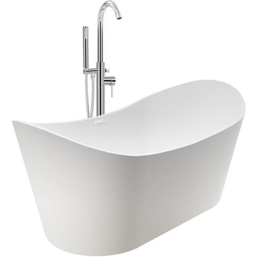 Freistehende Badewanne und Wasserhahn 204 L 118,5 cm Silbern