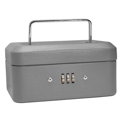 Barska CB11782 Cash Box w/ Combination Lock – (3) Compartment Tray, Steel, Gray