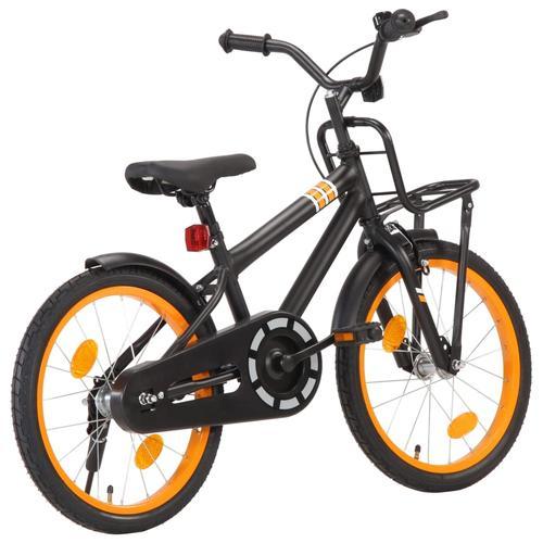 vidaXL Kinderfahrrad mit Frontgepäckträger 18 Zoll Schwarz und Orange