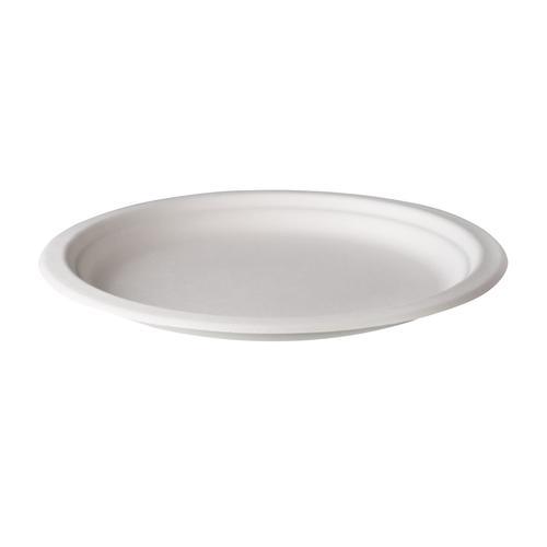 Teller, 23 cm, Zuckerrohr, weiß, 500 Stück