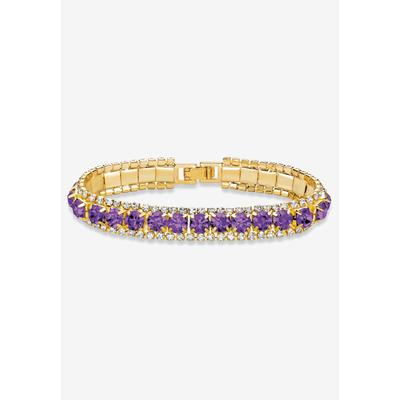 """Plus Size Women's Gold Tone Tennis Bracelet (10mm), Round Birthstones and Crystal, 7"""" by PalmBeach Jewelry in February"""