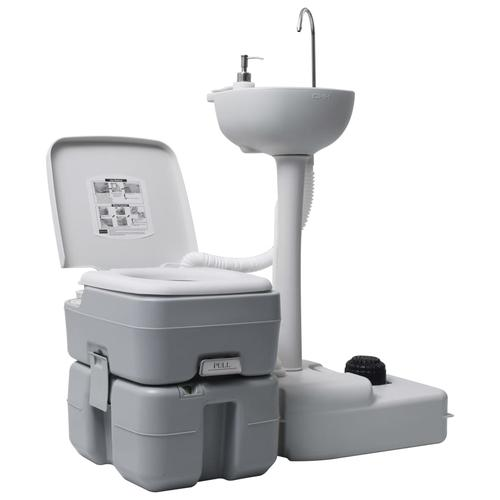 vidaXL Campingtoilette und Handwaschbecken Set Tragbar Grau