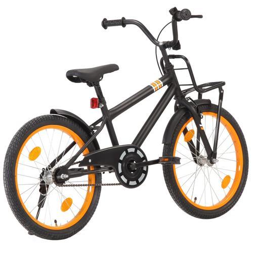 vidaXL Kinderfahrrad mit Frontgepäckträger 20 Zoll Schwarz und Orange