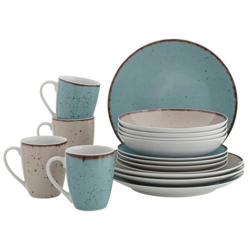 Home affaire Kombiservice Locarno, (Set, 16 tlg.), Geschirr-Set in 2 Farben bunt Geschirr-Sets Geschirr, Porzellan Tischaccessoires Haushaltswaren