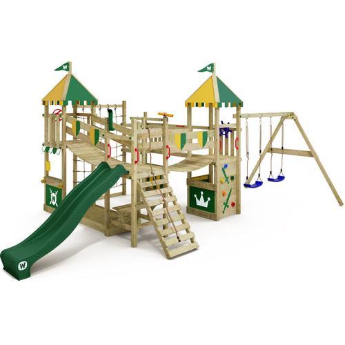 WICKEY Spielturm Ritterburg Smart Queen mit Schaukel & grüner Rutsche, Spielhaus mit Sandkasten,